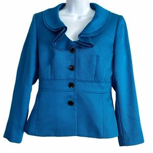 TAHARI Women Teal Blue Ruffled Blazer Jacket Sz 6P